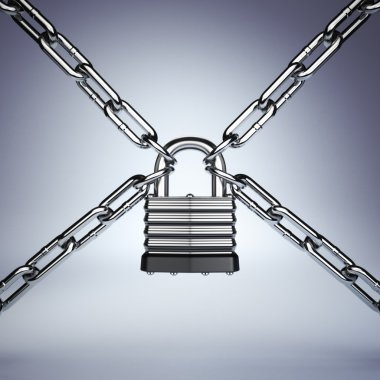 Security concept. Lock and chain. Under protection. 3d stock vector