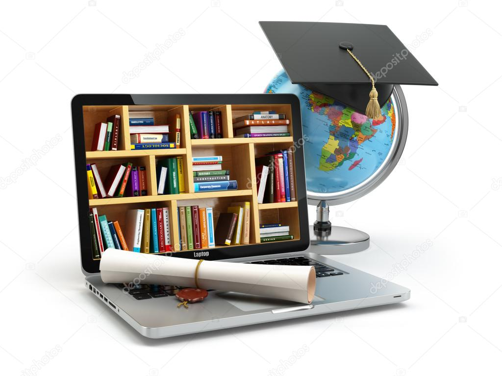 Education concept. Laptop with books, globe, graduation cap and diploma. 3d stock vector