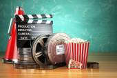 Photo Video, movie, cinema vintage production concept. Film reels, cla