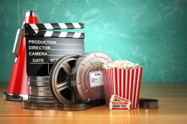 Video, movie, cinema vintage production concept. Film reels, clapperboard, tickets, popcorn and megaphone. 3d stock vector
