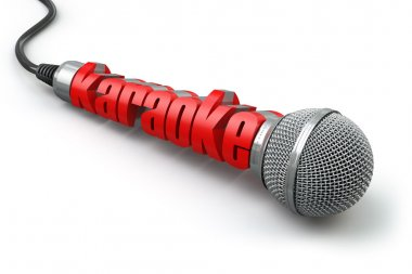 Karaoke party concept. Two microphones with text.