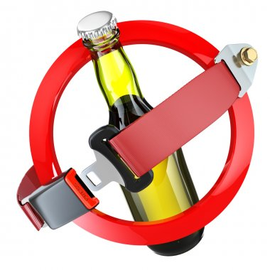 No alcohol sign concept. Bottle of beer and safety belt isolated