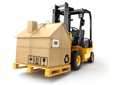 Delivery or moving houseconcept. Forklift with cardboard box as