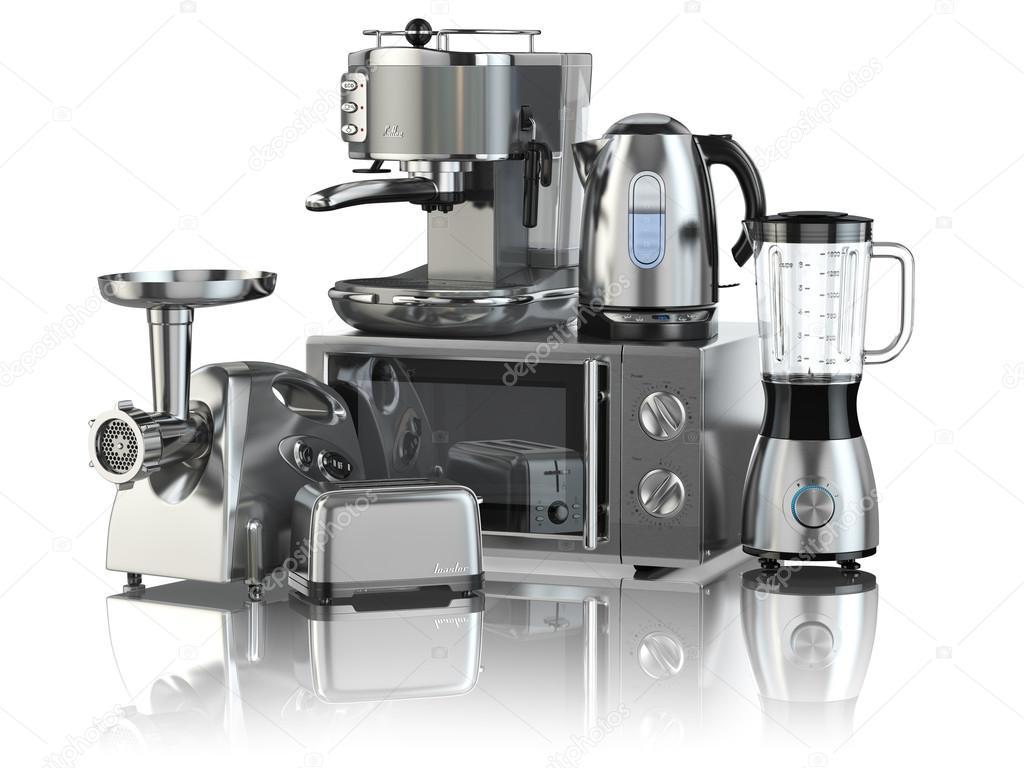 Küchengeräte. Mixer, Toaster, Kaffeemaschine, Fleisch ginde ...