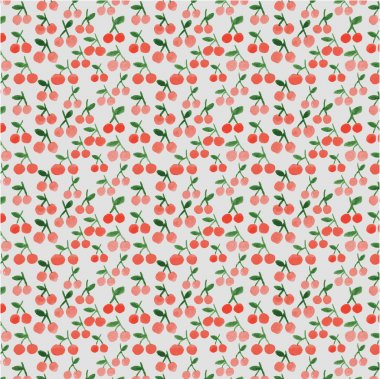 Seamless pattern with watercolor cherries clip art vector