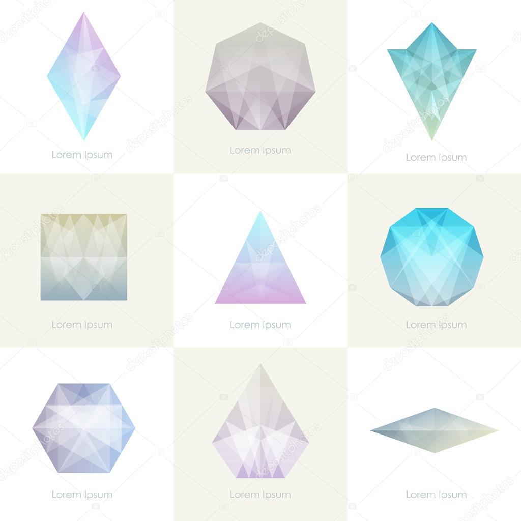Set of trendy crystal gems