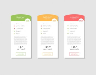 Pricing Table Template with Three Plan Types