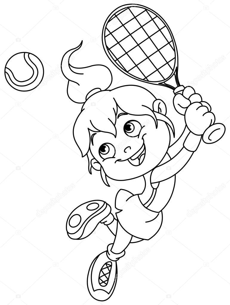 Skizzierten Tennis-Mädchen — Stockvektor © yayayoyo #115814106