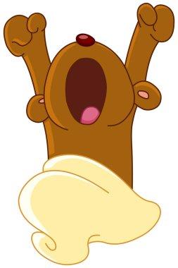 Teddy bear waking up