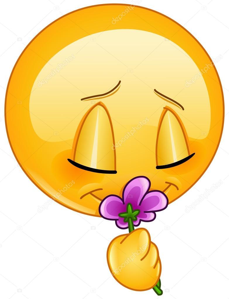 Emoji smelling flowers   Smelling flower emoticon — Stock