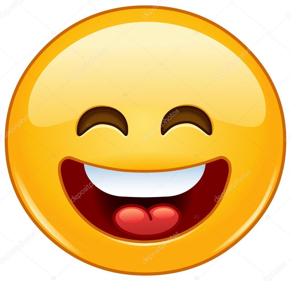 lachende emoticon met open mond en lachende ogen