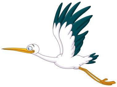 Vector stork flying