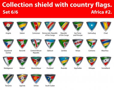 Collection shield with country flags. Part 6 of 6