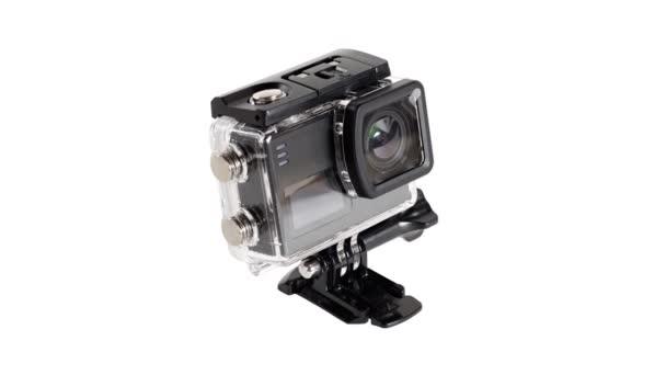 Kompakte Fotokamera im Unterwasserkasten. Isoliert auf weißem Hintergrund.