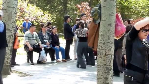 Menschen tanzen in einem Park in Shanghai, China