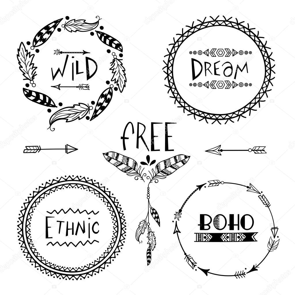Conjunto de marcos de estilo Boho creativos — Archivo Imágenes ...