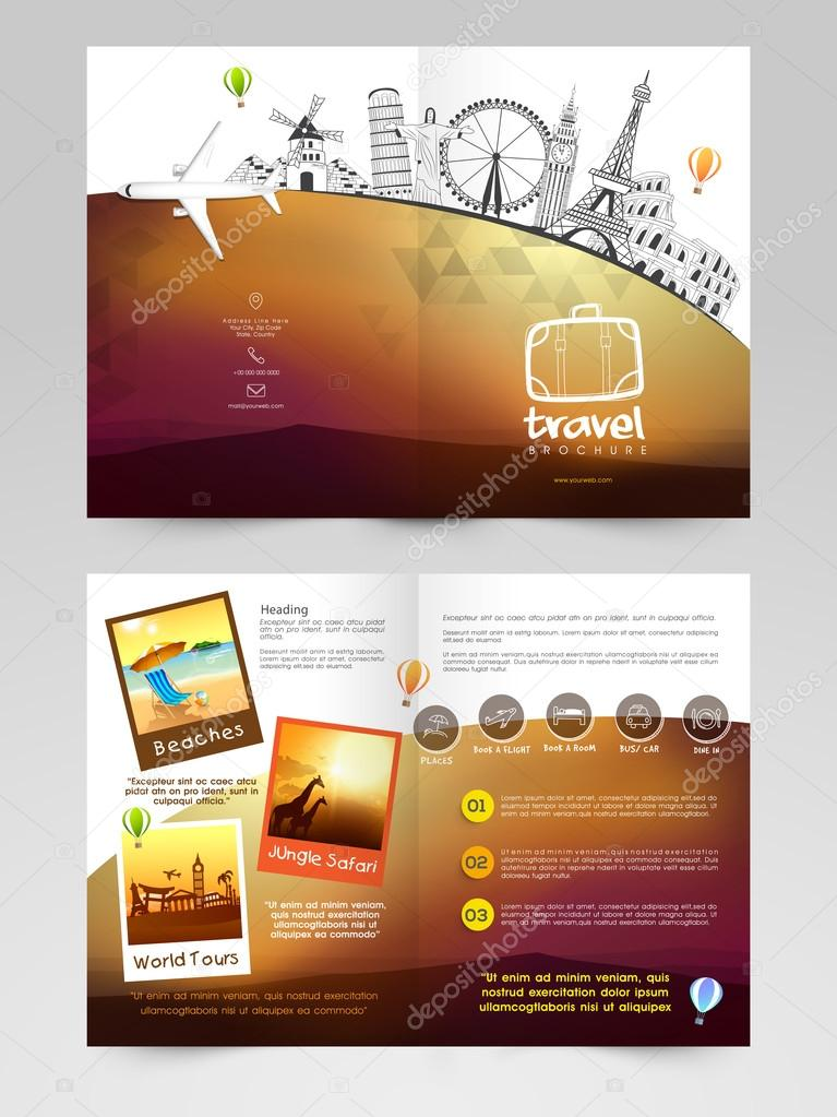Travel Brochure Template Or Flyer Design Stock Vector