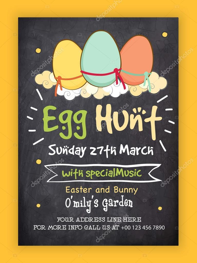 Easter Egg Hunt Invitation Card design Stock Vector