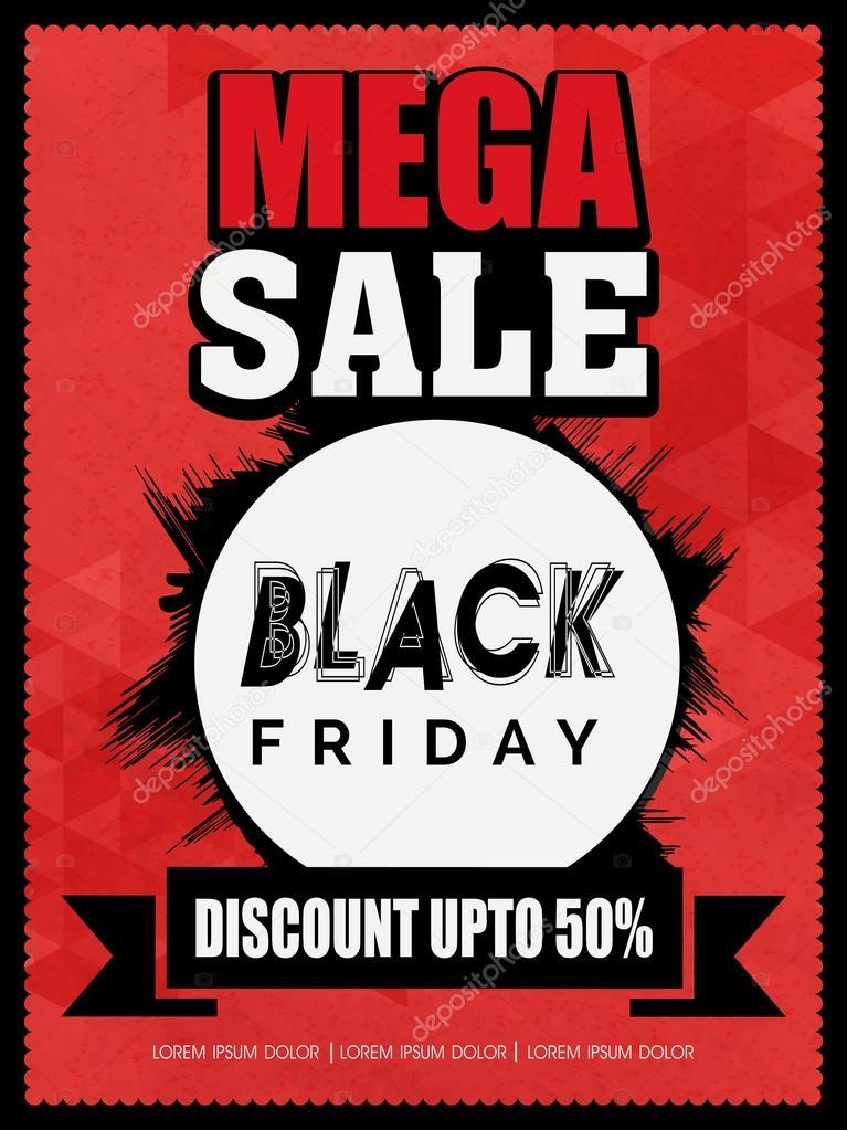 black friday mega sale flyer or banner ストックベクター