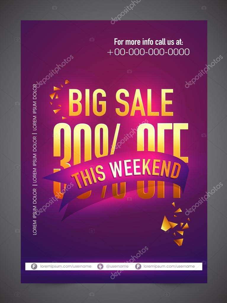 weekend big sale flyer or banner ストックベクター