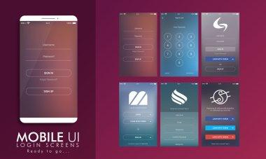 Login Screen UI, UX and GUI template layout.