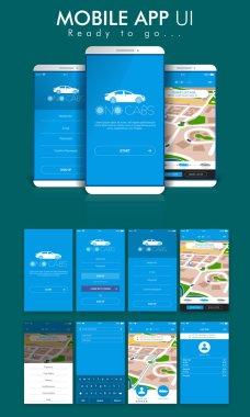 Online Cab Mobile App UI, UX and GUI Screens.
