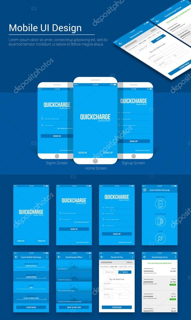 online payment mobile app material design ui ux and gui template layout including sign in home sign up quick mobile recharge quick charge offer and