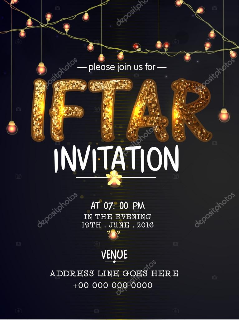Beautiful invitation card for iftar party vetor de stock elegant invitation card design decorated with golden glittering text iftar lights and party details vetor por alliesinteract stopboris Image collections