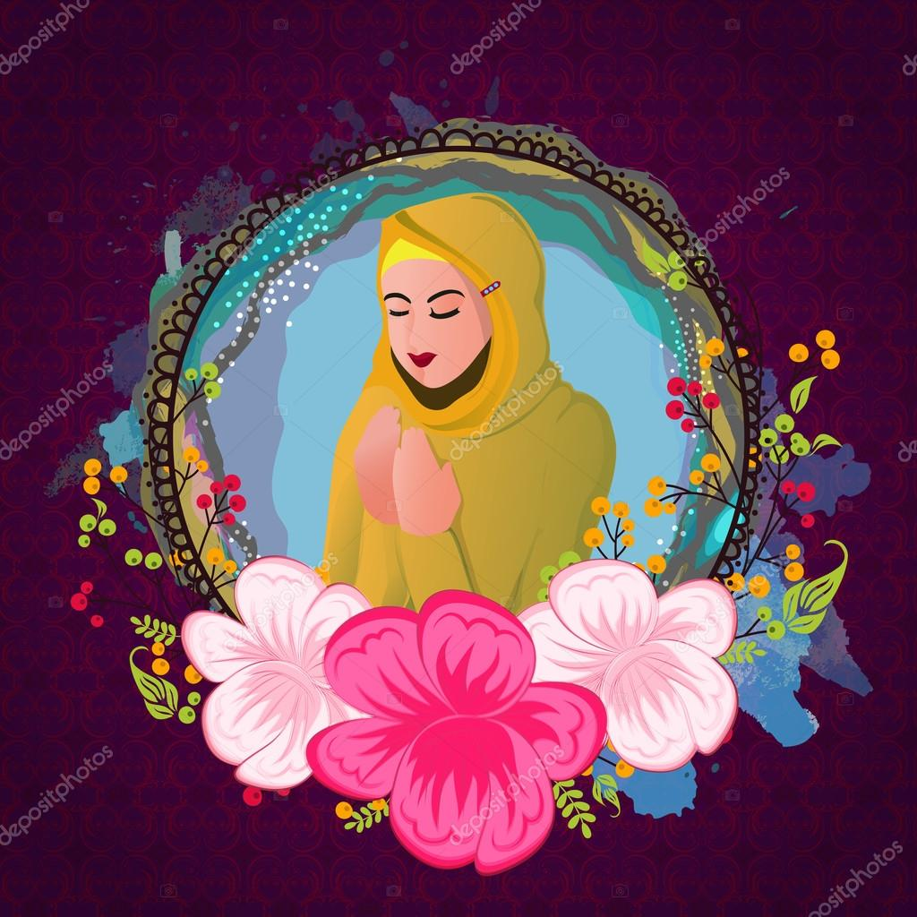Praying woman in frame for Ramadan celebration  — Stock Vector