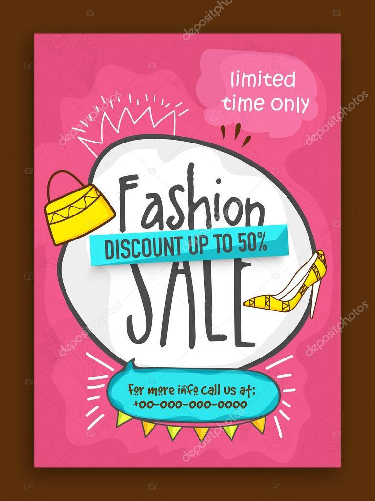 fashion sale poster banner or flyer design stock vector