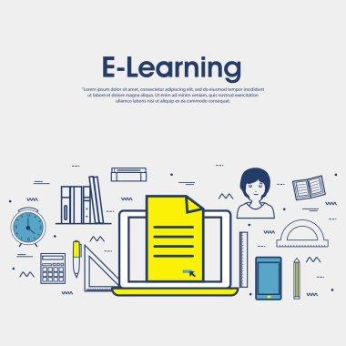 Flat illustration for Online Education.