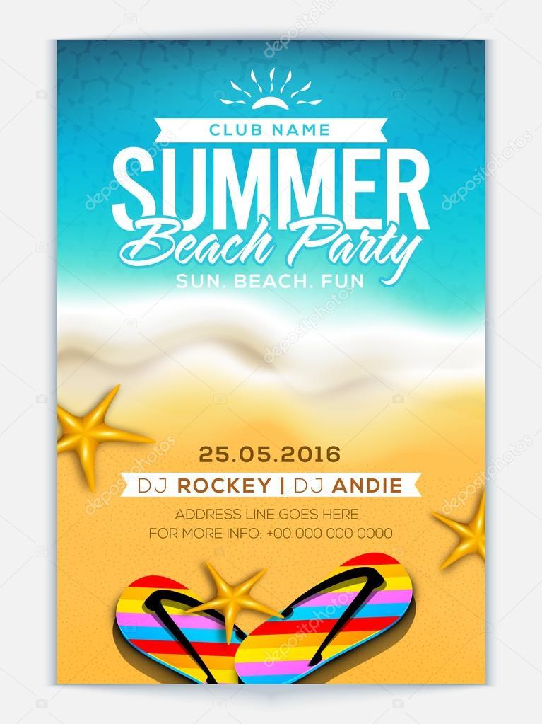 summer beach party template banner or flyer ストックベクター