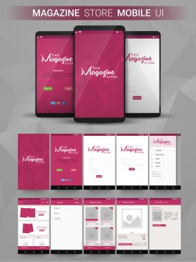 Magazine Store Mobile UI, UX and GUI layput.