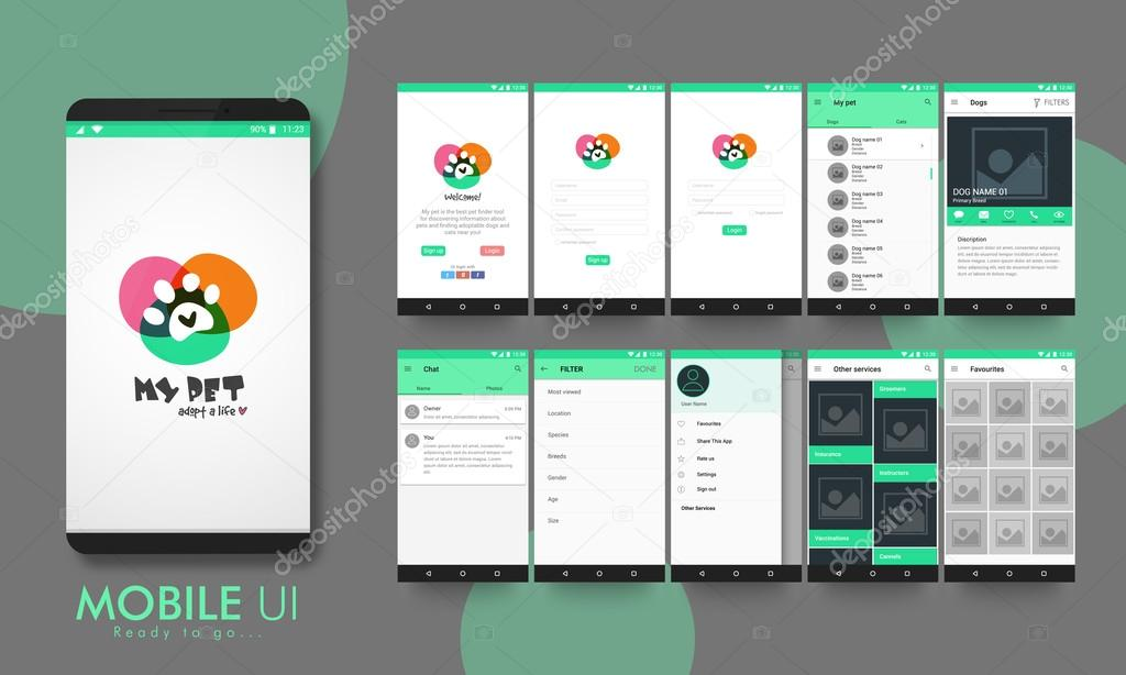 material design ui ux and gui for mobile apps ストックベクター