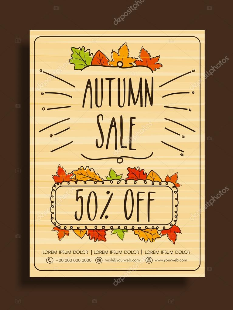 autumn sale banner poster or flyer ストックベクター