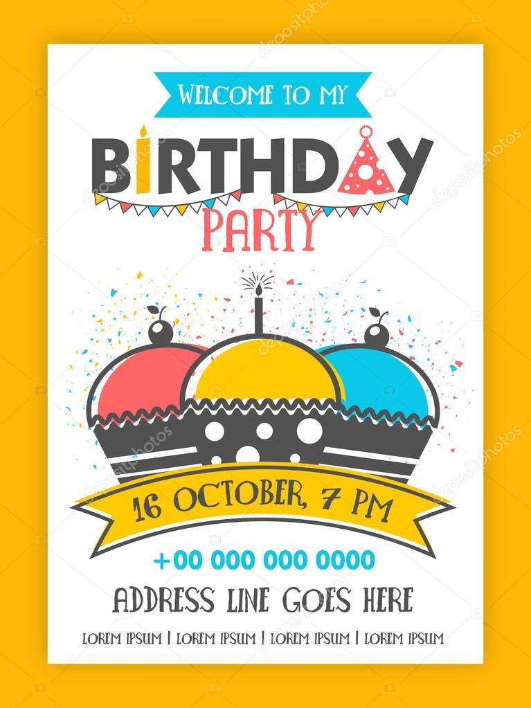 Geburtstag Party Einladung Kartengestaltung Stockvektor