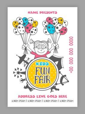 Kids Fun Fair Template, Banner or Flyer design.
