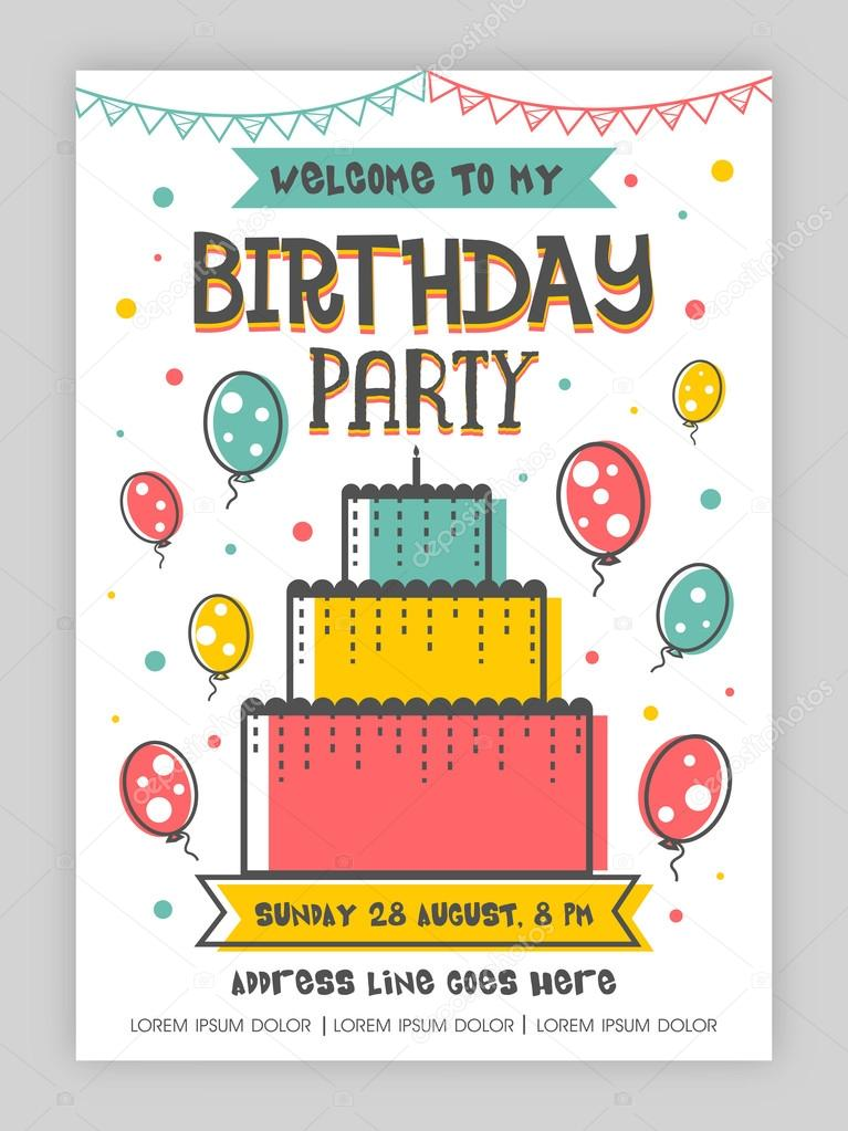 Design de carto de convite de festa aniversrio vetor de stock birthday party invitation card or welcome card design happy birthday background with colorful big cake and flying balloons can be used as template stopboris Choice Image