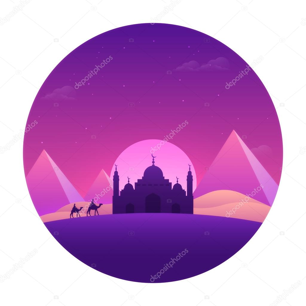 Greeting card with desert view for islamic festivals stock vector beautiful view of desert with purple mosque mountains on full moon light night background greeting card design for islamic festivals celebration m4hsunfo