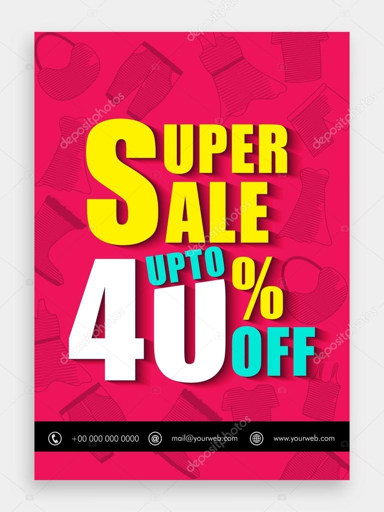 super sale template banner or flyer design ストックベクター