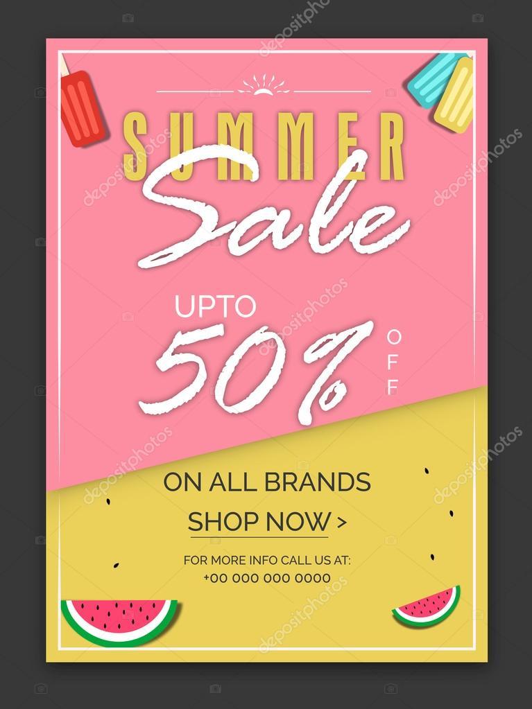 summer sale poster banner or flyer design stock vector