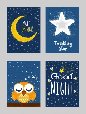 Good Night Greeting Card set in doodle style.