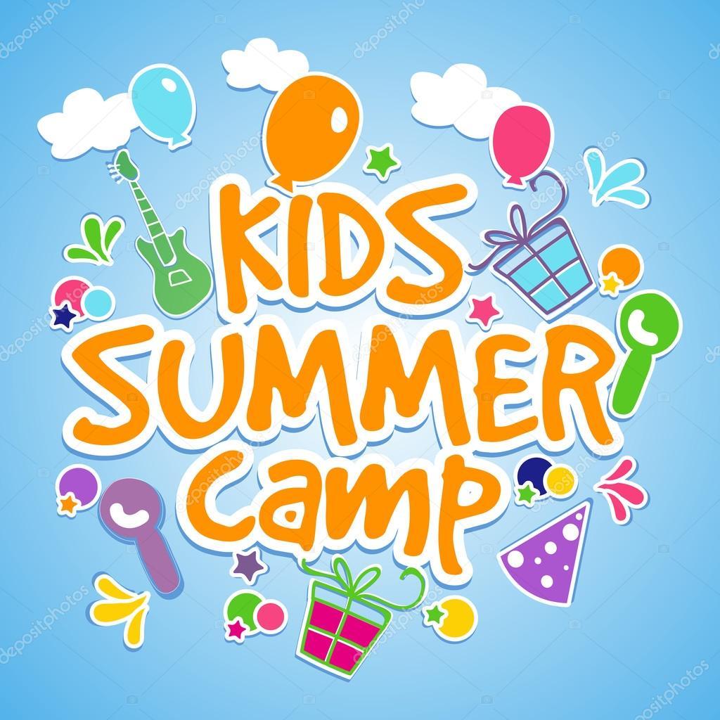 kids summer camp poster  banner or flyer design   u2014 stock