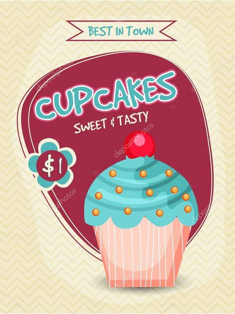 capcakes bakery template banner flyer or menu card design with illustration of sweet and tasty cupcake vector by alliesinteract