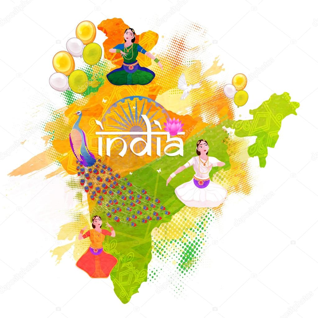 Republic of India Map for Independence Day Stock Vector