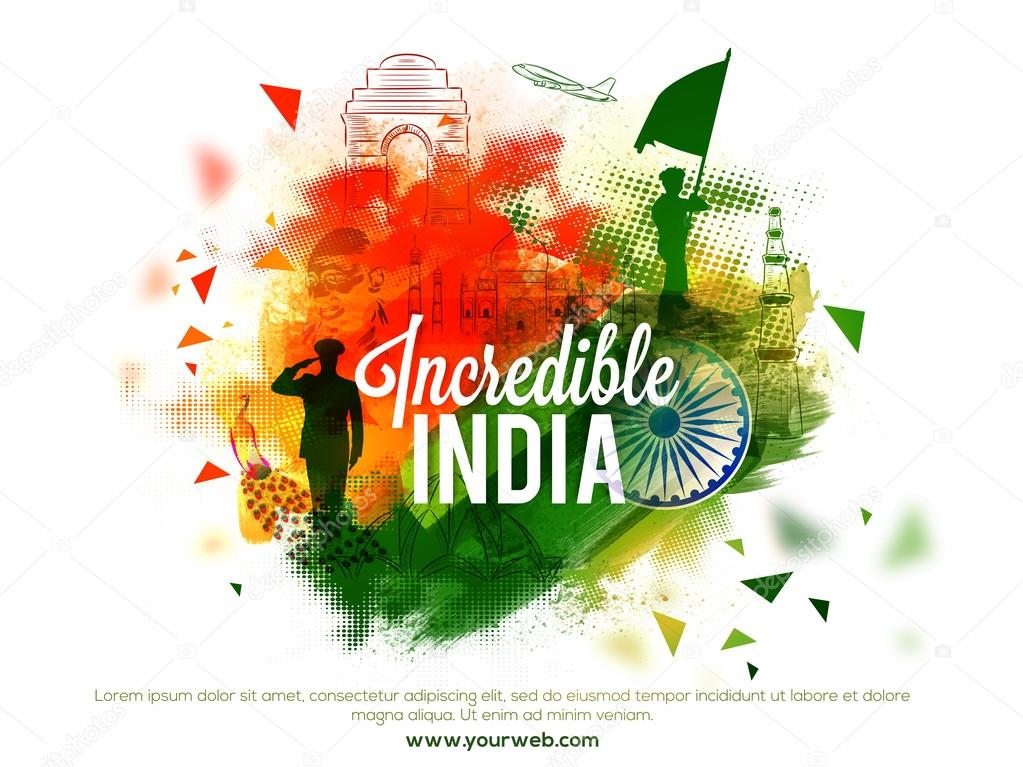 View of Incredible India's Culture and Famous Monuments, Creative abstract background with brush strokes, Elegant Poster, Banner or Flyer design for Indian National Festivals celebration. stock vector