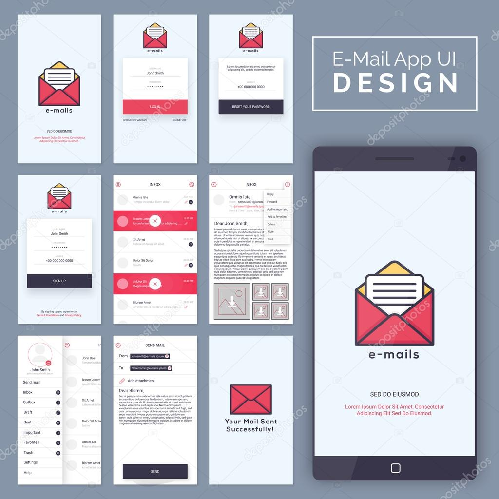 E-Mail Mobile App UI, UX and GUI template layout. — Stockvektor ...