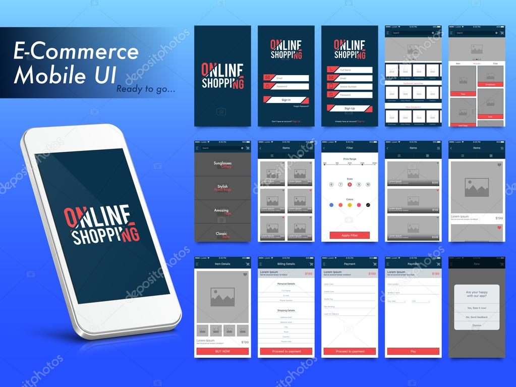 Online shopping mobile apps ui ux and gui layout stock for Shop on line mobili