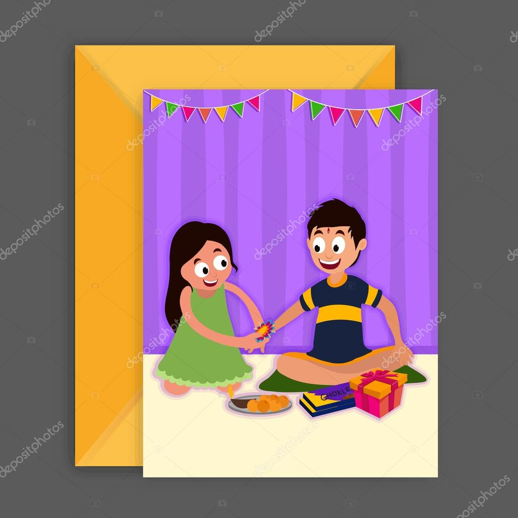 Greeting card with envelope for raksha bandhan stock vector cute little brother and sister celebrating rakhi festival elegant greeting card design with envelope for indian festival celebration m4hsunfo