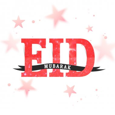 Greeting Card with Creative text for Eid Mubarak.